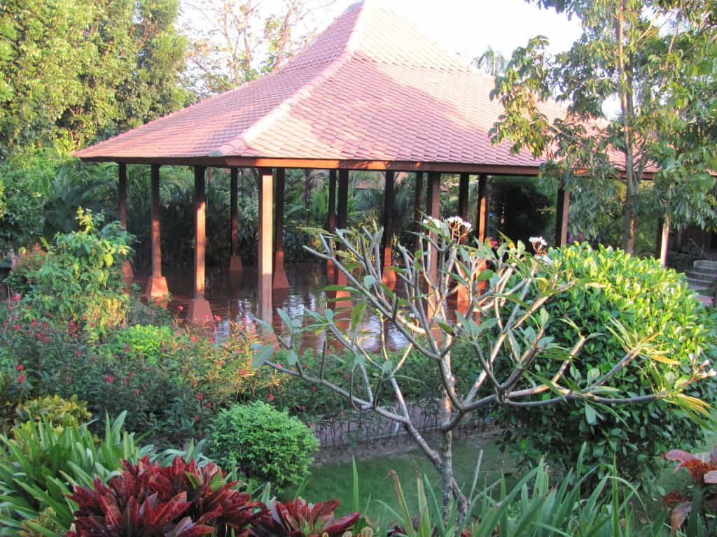 This pavilion in the Indonesian garden is a simple design.