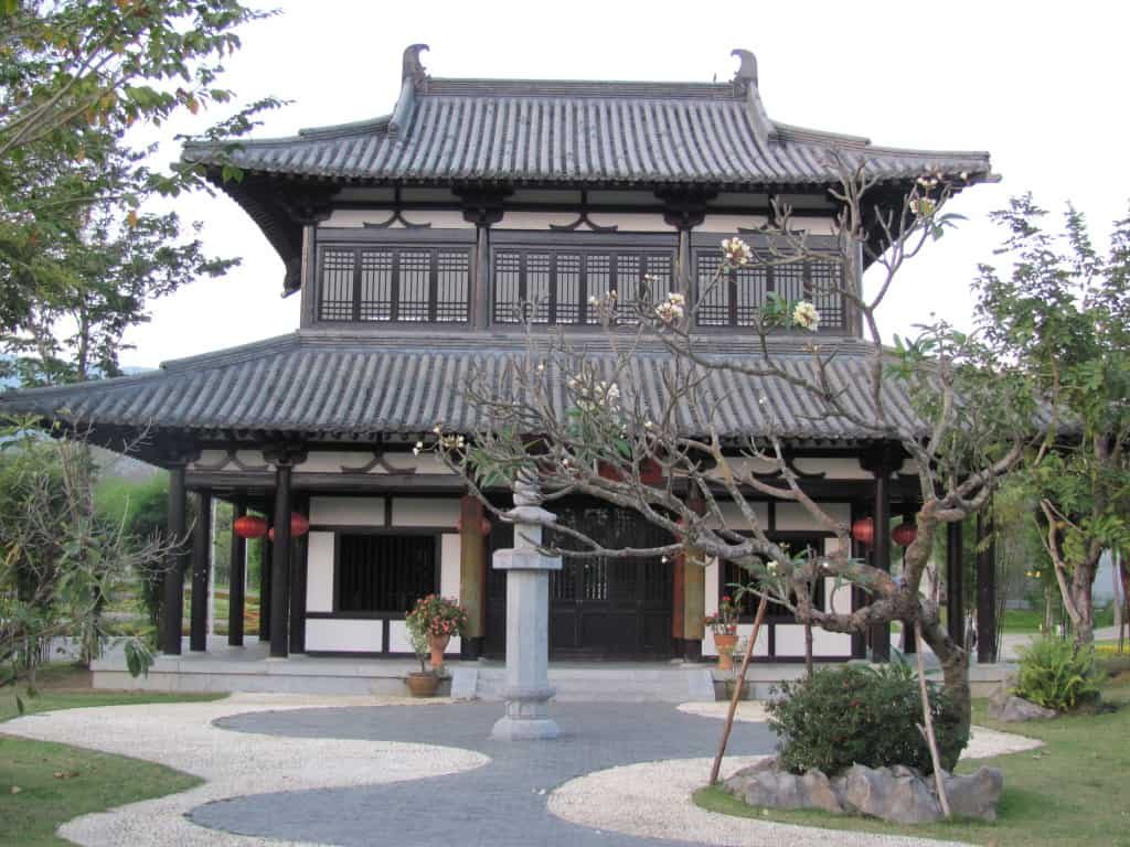 This pavilion in the garden from China was beautiful.